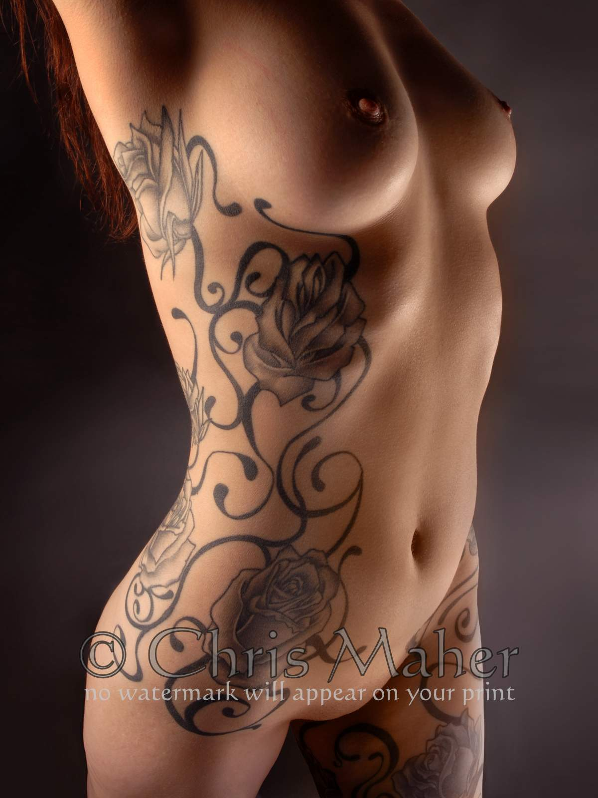 Details About Drl Fine Art Nude Ink Tattoo Black Roses Embyr